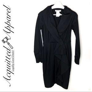 MaxMara Black Long Sleeve Faux Wrap Dress
